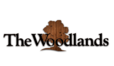 The Woodlands logo woodgrain contrast