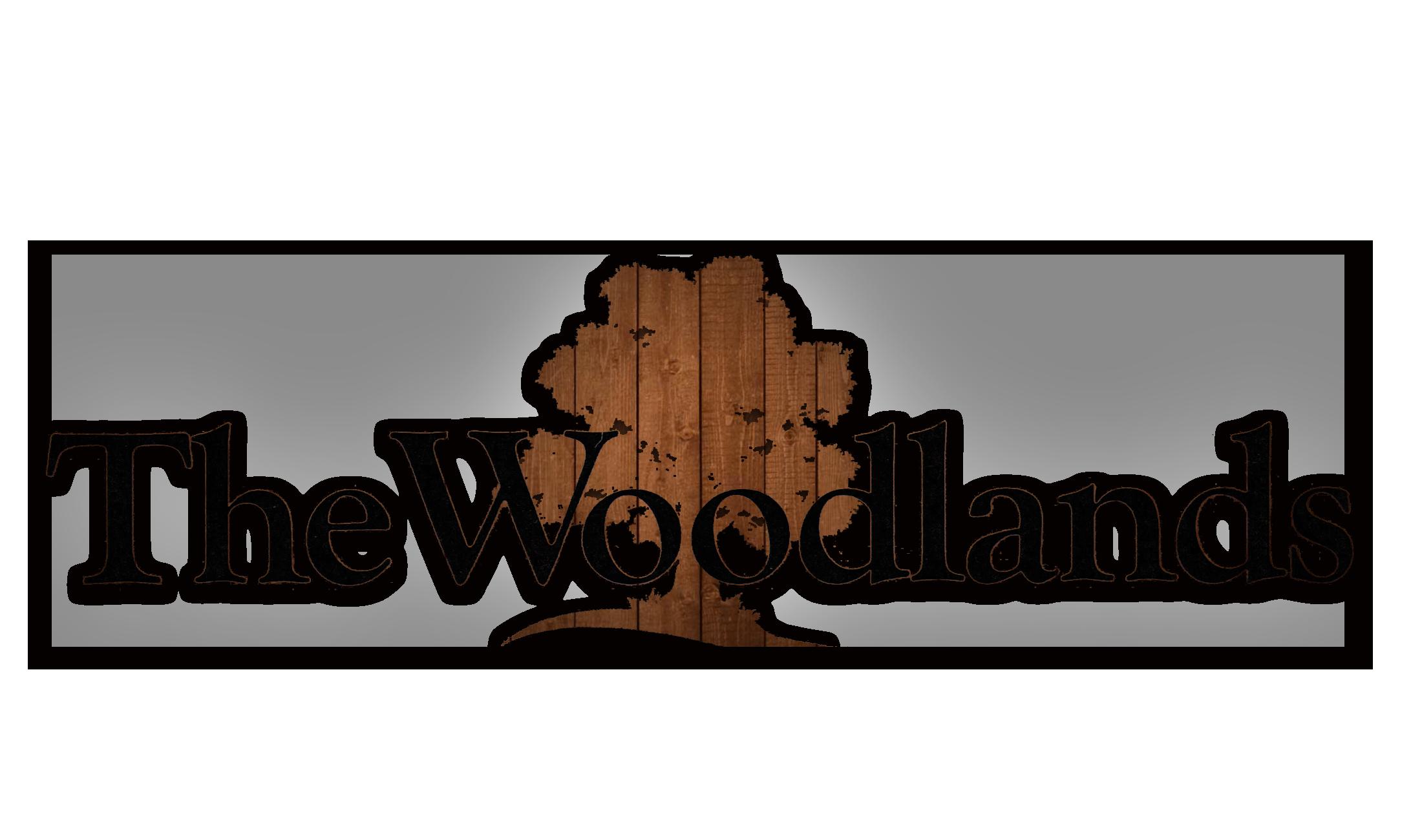 The Woodlands logo woodgrain contrast